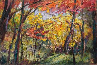 """New """"Exploring the Woods"""" Palette Knife Painting by Contemporary Impressionist Niki Gulley"""