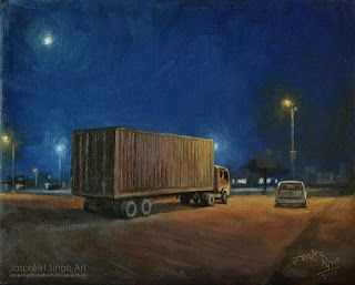 Night view of Anaaj Mandi - 15'' by 12'' painting in oil