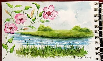 Marsh and Morning Glories, Southport, NC, Lin Frye