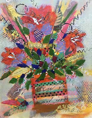 "Abstract Flower Art Painting, Contemporary Art, Music Art, Mixed Media Floral ""Lady Love"" by Illinois Artist Marilyn Weisberg"