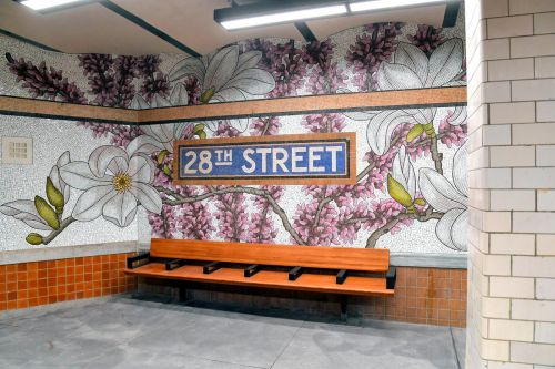 Glass Lilac, Daffodil, and Magnolia Blossoms Thrive Underground at New York City's 28th Street Subway Station