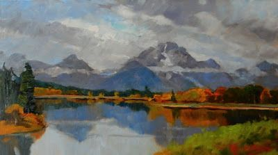 """Mount Moran from Oxbow Bend"" Grand Teton plein air painting by Robin Weiss"