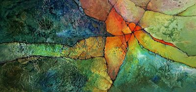 "Mixed Media Geologic Abstract Painting, ""Intersection II"" by Carol Nelson Fine Art"