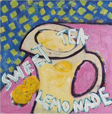 "Abstract , Folk Art, Narrative Art Painting, Still Life ""Sweet Tea And Lemonade"" Narrative Art by Santa Fe Artist Judi Goolsby"