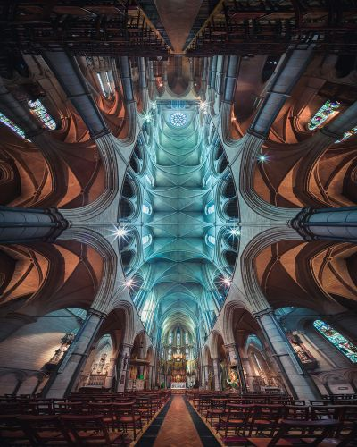 Panoramic Photographs by Peter Li Bring an Otherworldly Perspective to the Architectural Symmetry of Churches