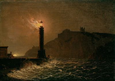 Joseph Wright of Derby, A lighthouse on fire at night