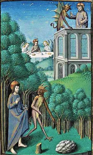 Lent - Temptations in the Wilderness - Christ, Satan, & a Few Angels 15C