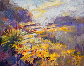"New ""Flowering Currents"" Desert Landscape Painting by Niki Gulley"