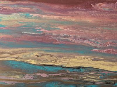 "Abstract Landscape, Sunrise Art Painting, Contemporary Landscape ""Soft Reflections"" by International Contemporary Artist Kimberly Conrad"