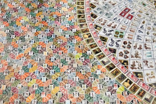 100,000 Hand-Arranged Stamps Form Complex Mosaics by Elisabetta Di Maggio