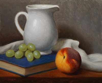 """""""Peach, Pitcher and Grapes"""" Oil on 8x10 Linen board"""