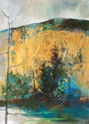 """Mixed Media Abstract Landscape Painting """"Autumn Gold"""" by Intuitive Artist Joan Fullerton"""