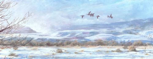 """Colorado Winter Landscape, Wildlife Painting """"Fog Burns Off"""" by Colorado Artist Nancee Jean Busse, Painter of the American West"""