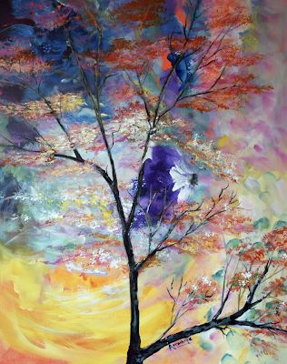 """Abstract Landscape, Sky,Nature Art Painting, """"Breath of Nature"""" by International Abstract Realism Artist Arrachme"""