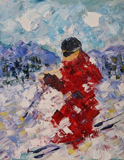 "Skier, Ski Art Paintings,Winter Art,Colorado Mountain Snow ""Mogul Master"" by Colorado Impressionist Judith Babcock"