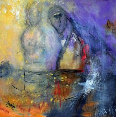 "Contemporary Abstract Painting, Abstract Figure ""Points of Reference"" by International Abstract Artist Arrachme"
