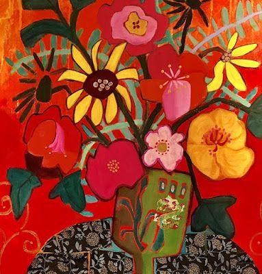 """Contemporary Expressionist Still Life Art Painting """"POMEGRANATE"""" by Santa Fe Artist Annie O'Brien Gonzales"""