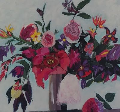 """Contemporary Still Life Floral Painting, Flower Art """"Fantasy Floral"""" by Arizona Abstract Artist Cynthia A. Berg"""