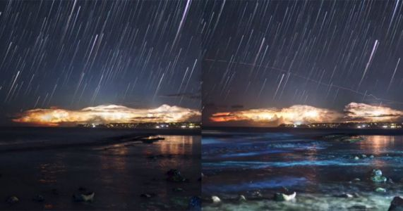 A Star-Stack Timelapse of a Lightning Storm in Hawaii