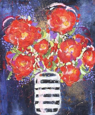 "Contemporary Abstract Expressionist Still Life Floral Painting, Red Flowers ""SET THE TABLE FOR TWO"" by Abstract Artist Pamela Fowler Lordi"