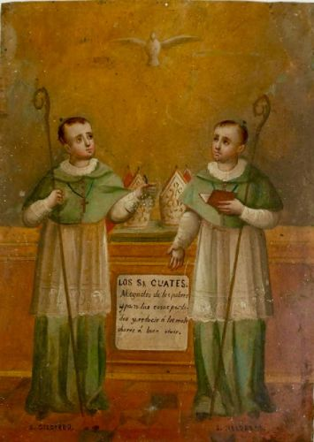 Saints Cosmas and Damian - a Mexican retablo