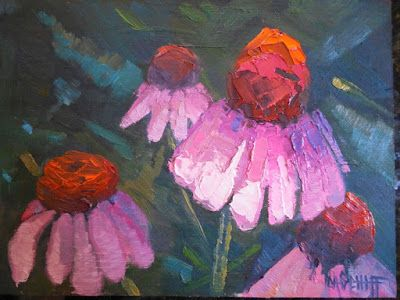 Echinacea Painting, Small Oil Painting, Daily Painting, Palette Knife Art, Textured Art, 6x8