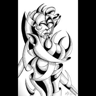 Mark Webster - Abstract Geometric Futurist Figurative Ink Drawing