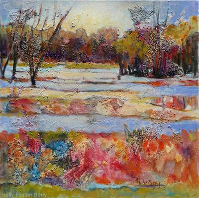 "Abstract Landscape Painting, Mixed Media, Trees, Fine Art For Sale, ""Rebirth"" By Passionate Purposeful Painter Holly Hunter Berry"
