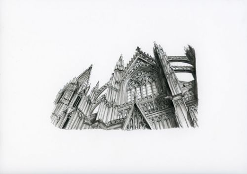 Tiny Sketches of the Eiffel Tower and Historic Cathedrals