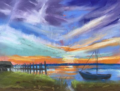 """Sunrise with Boat,"" Contemporary Florida Landscape"
