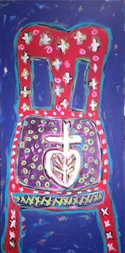 "Red Chair, Folk Art, Narrative Art Painting, ""Chair-Part 1"" Narrative Art by Santa Fe Artist Judi Goolsby"