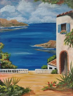 "Greece, Coastal Art, Mediterranean Sea, Villa, Contemporary Art, ""Greek Isle"" by Arizona Artist Cynthia Berg"