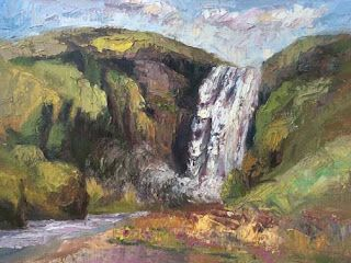 Waterfall Palette Knife Painting from Iceland by Niki Gulley