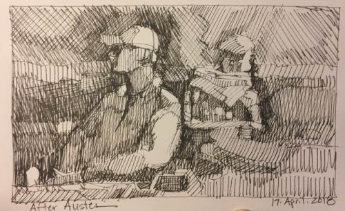 """Day 199 """"After Auster"""" 6 x 9 pen & ink"""
