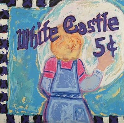 "Abstract , Folk Art, Narrative Art Painting, ""White Castle"" Narrative Art by Santa Fe Artist Judi Goolsby"