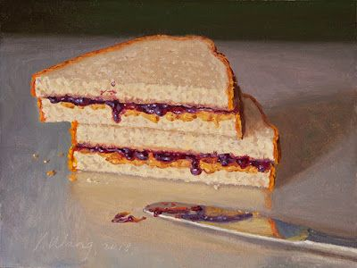 Peanut butter and jelly sandwich pb&j sandwich food painting original daily painting a day