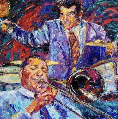 "Jack Teagarden, Gene Krupa, Jazz, Drums, Trombone, ""Jack and Gene"" by Texas artist Debra Hurd"