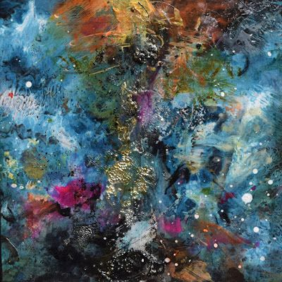 "Space Landscape, Abstract Painting, Mixed Media, Contemporary Art ""The Way"" by Santa Fe Contemporary Artist Sandra Duran Wilson"