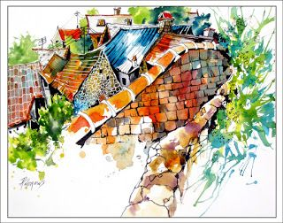 Rooftops..Watercolor..Texas Artist..Rae Andrews