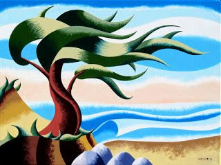 Mark Webster - Abstract Geometric Cypress Tree Ocean Seascape Oil Painting 18x24