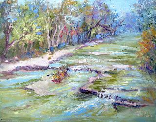 Fall Creek Flow, New Contemporary Landscape Painting by Sheri Jone