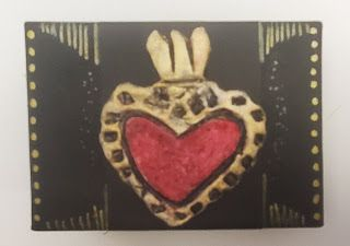 Small Trinket Box with Paer Clay Heart Milagro Embellishment