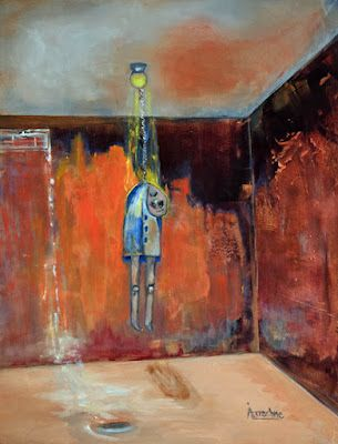 """Expressionism Painting, Contemporary Art, Abstract Figure """"Broken"""" by International Contemporary Abstract Artist Arrachme"""