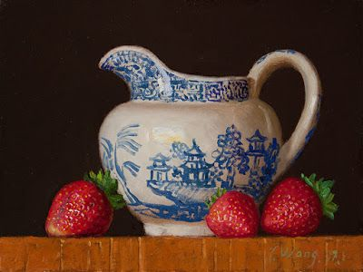 Strawberries with blue willow jar still life painting a day