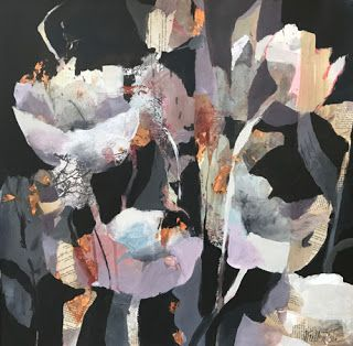 "Abstract Mixed Media Botanical Painting ""In The Night"" by Intuitive Artist Joan Fullerton"