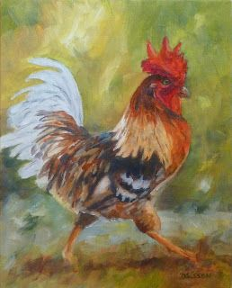 Colorful Strut Oil Painting Farm Animals Portraits Fowl Rooster Chicken Art