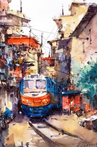 Watercolor Painting by Zhifang Shi Using a combination of