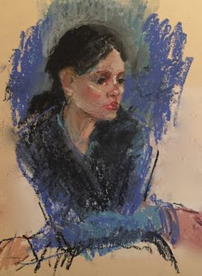 Quick Drawing of a Seated Woman - oil pastel portrait drawing