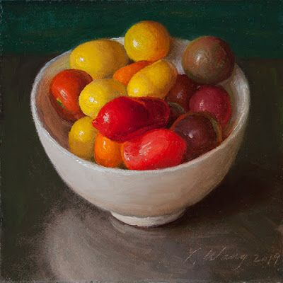 Cherry tomatoes in a bowl, still life oil painting original daily painting a day