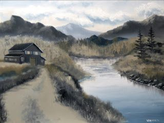 Mark Webster - Mountain Landscape Grayscale Oil Painting